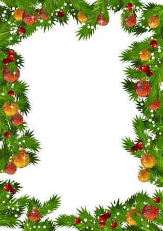 Christmas frame made of  fir branches  Ilustração