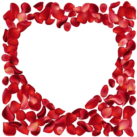 Frame made of rose petals Vector