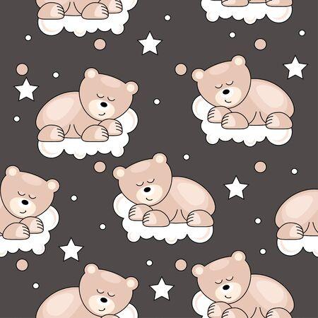 composure: Seamless pattern con il piccolo orso Vettoriali