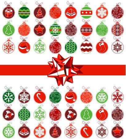 pelota caricatura: Plantilla con varias bolas de Navidad Vectores