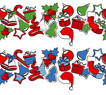 x mas: Border with traditional Christmas symbols Illustration