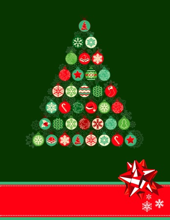 Christmas tree made of balls Vector