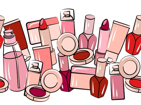 Various cosmetics in seamless border Vector