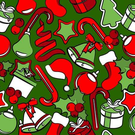 Seamless pattern with Christmas decoration Stock Vector - 10761980