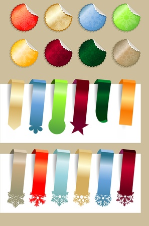 Set of different Christmas stickers and labels Vector