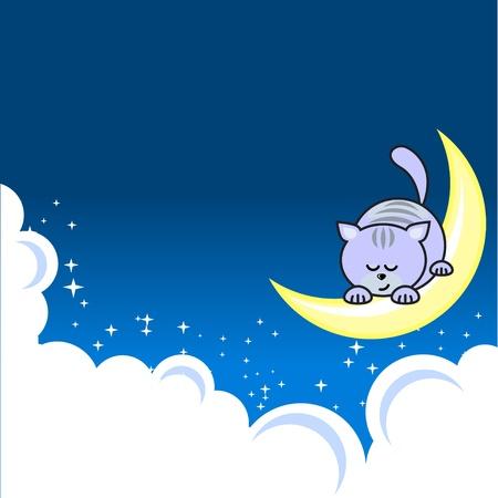 slumber: Small cat sleeping on crescent