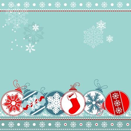 Blue Christmas background with balls Ilustração