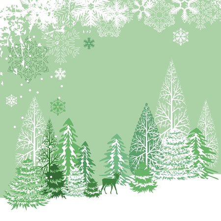 x mas: Beautiful view of winter forest Illustration