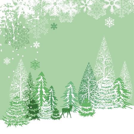 Beautiful view of winter forest Ilustração