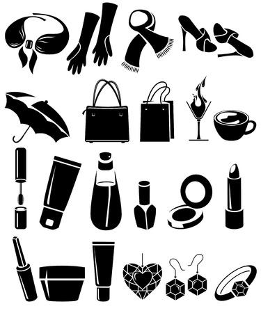 pintalabios: Conjunto de cosas de mujeres de diferentes