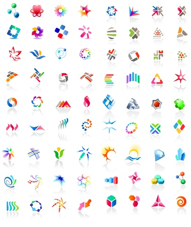 simple logo: 72 colorful icons Illustration