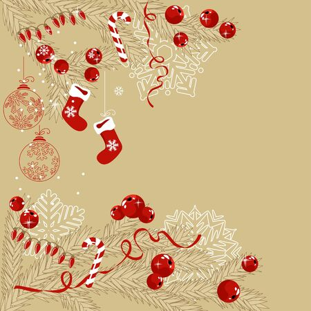 Background with traditional Christmas symbols Vector