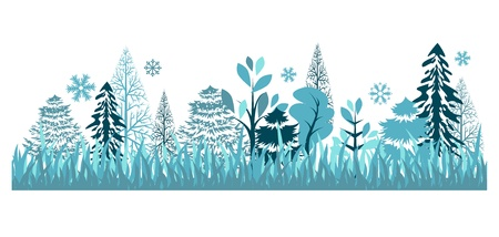 winter stylized: Seamless pattern with winter forest Illustration