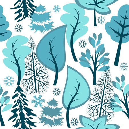 mas: Seamless pattern with winter forest Illustration