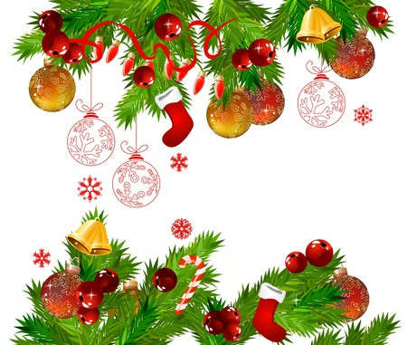 red x: Christmas frame with  fir branches Illustration