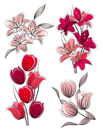 clip art draw: Set of stylized flowers