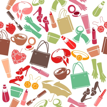 womans: Seamless pattern with womans things Illustration