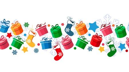 tinsel: Border with Christmas gift boxes