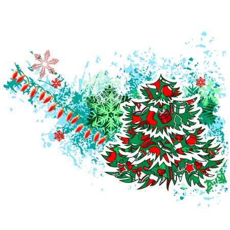 Christmas Tree with Modern Grunge Elements Vector