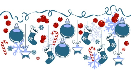Border with traditional Christmas symbols Vector