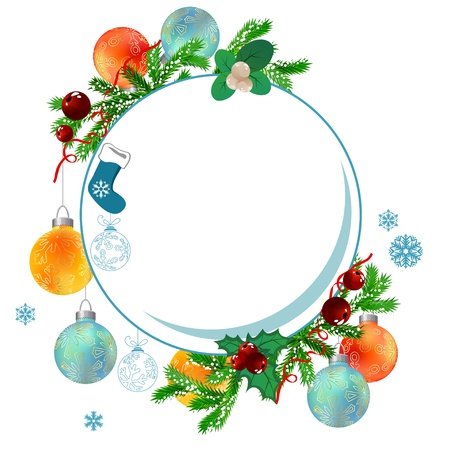 Christmas frame with balls and fir branches Vector