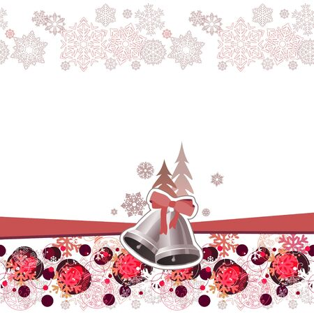 Christmas greeting card with  bells Vector