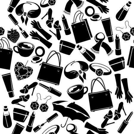 Naadloos patroon met dingen van de vrouw Vector Illustratie