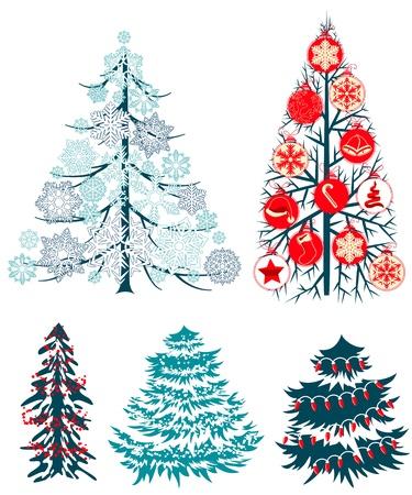 Collecton de estilizados �rboles de Navidad