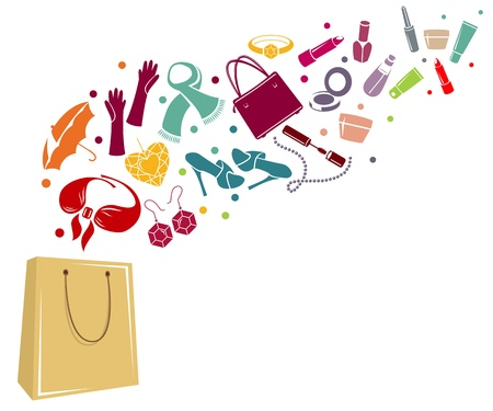 Different womans things in bag