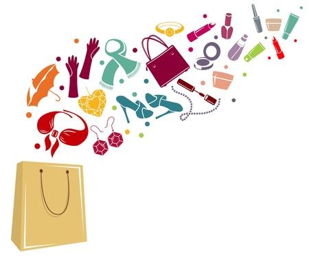 cosa: Mujer diferente de las cosas en una bolsa