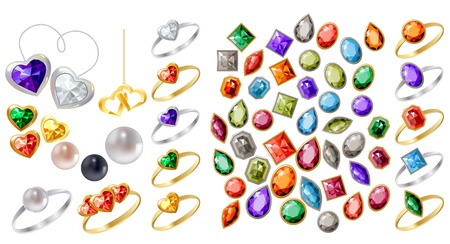 Collection of different jewels Ilustração