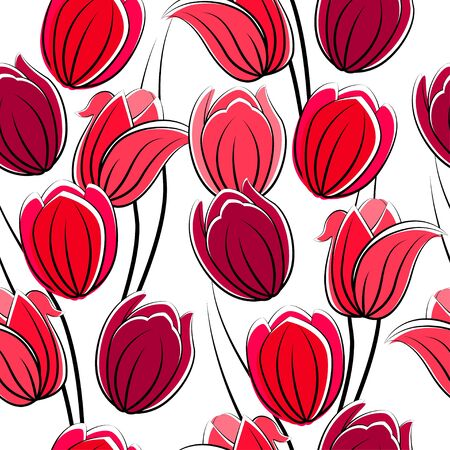 clip art draw: Seamless pattern with tulips