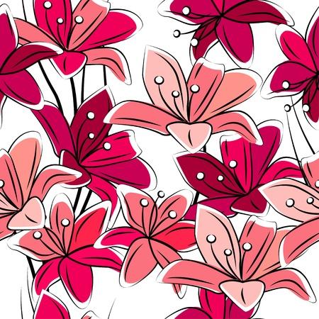 muguet fond blanc: Seamless de fleurs de lys