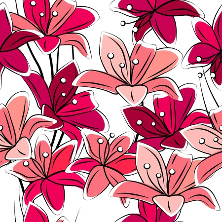 Seamless pattern with lilies Stock Vector - 11464636