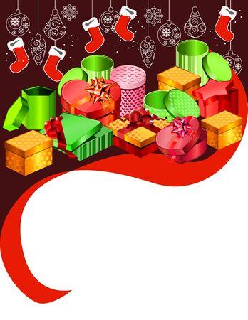 Christmas background with handing Santa socks Vector