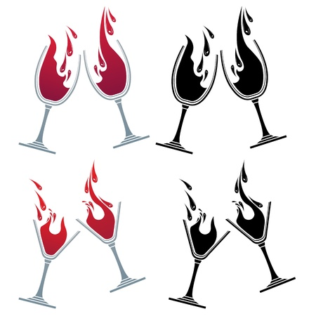 red wine pouring: Glasses with different drinks