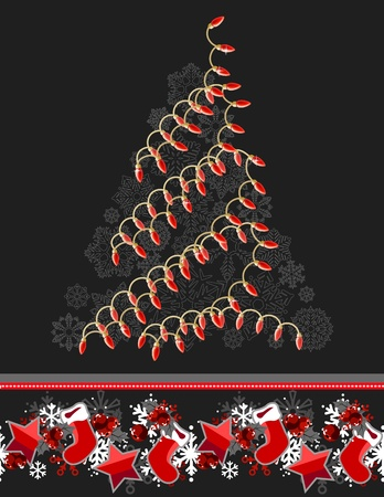 Christmas tree made of electric garland Vector