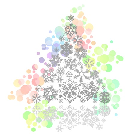 Christmas tree made of snowflakes Vector