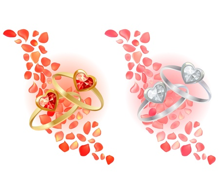 Two rings and rose petals Vector