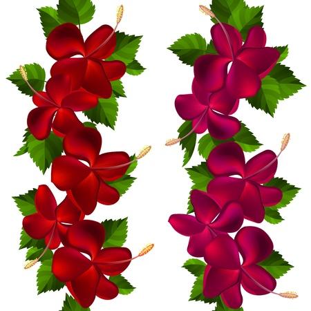 beautiful red hibiscus flower: Frontera Samless hecha de flores de hibisco Vectores