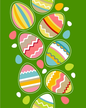 Seamless vertical border with easter eggs Vector