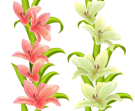 Vertical seamless patterns with lilies Vector
