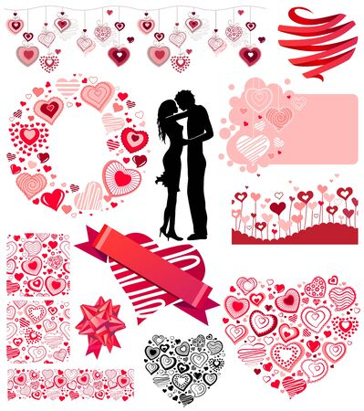 Valentines collection of different hearts Vector