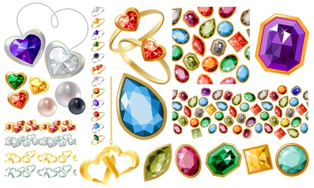 Big jewellery set with gems and rings Stock Vector - 12135733