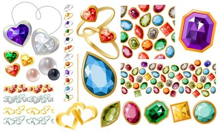 Gran juego de joyas con piedras preciosas y anillos