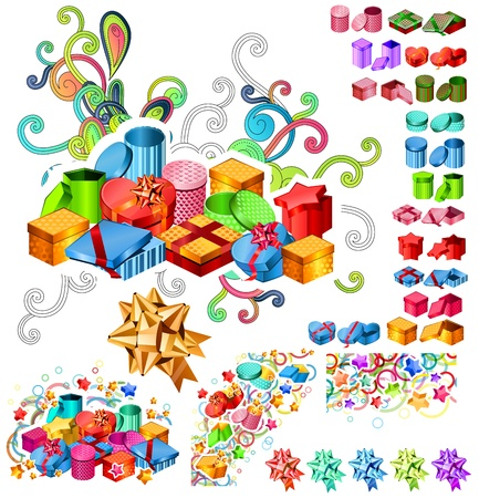 large group of objects: Big Collection of Gift Boxes