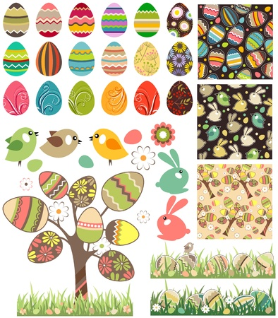 Big easter set with traditional eggs. Vector