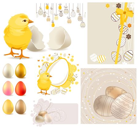 Big Easter Set with Yellow Chicken and Eggs  Vector