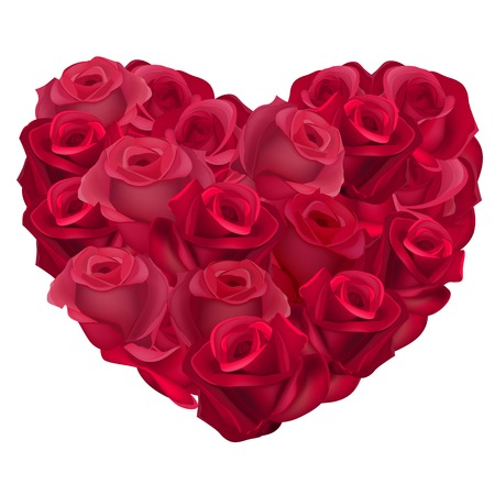 Red heart made of realistic roses. Vector