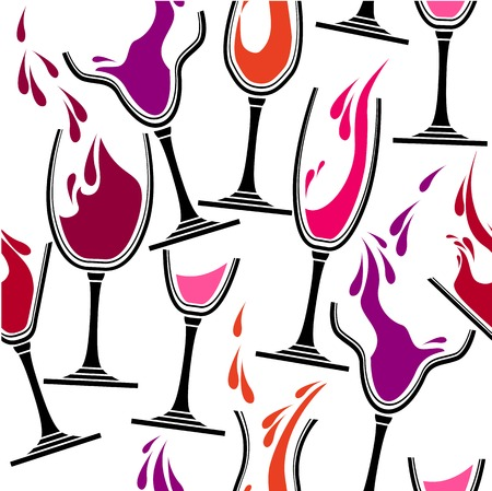 Seamless stylized pattern with glasses of wine. Vector